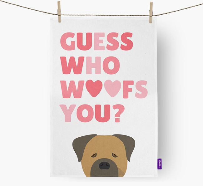 'Guess Who Woofs You?' Dish Towel with Cane Corso Italiano Icon