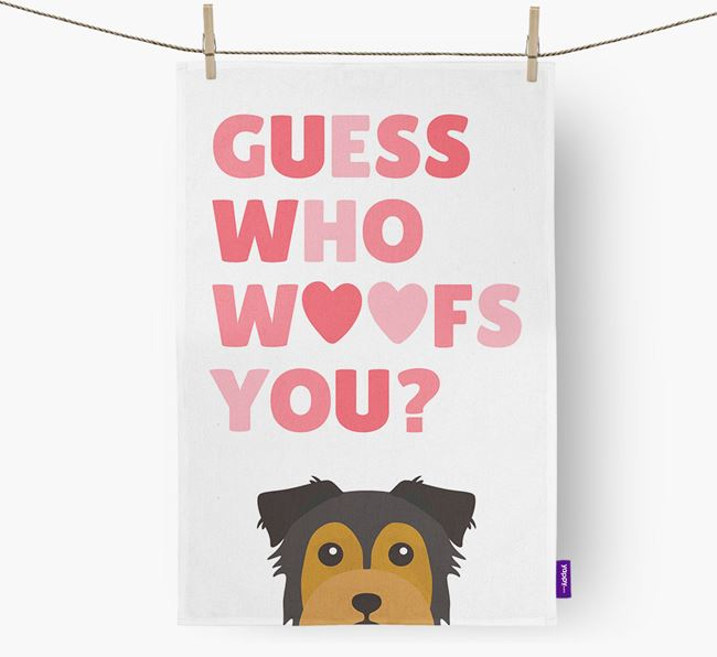'Guess Who Woofs You?' Dish Towel with Chorkie Icon