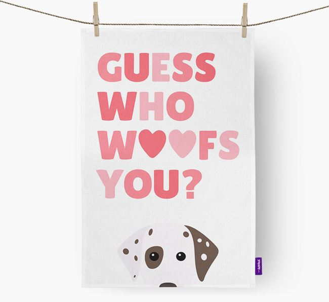 'Guess Who Woofs You?' Tea Towel with Dalmatian Icon