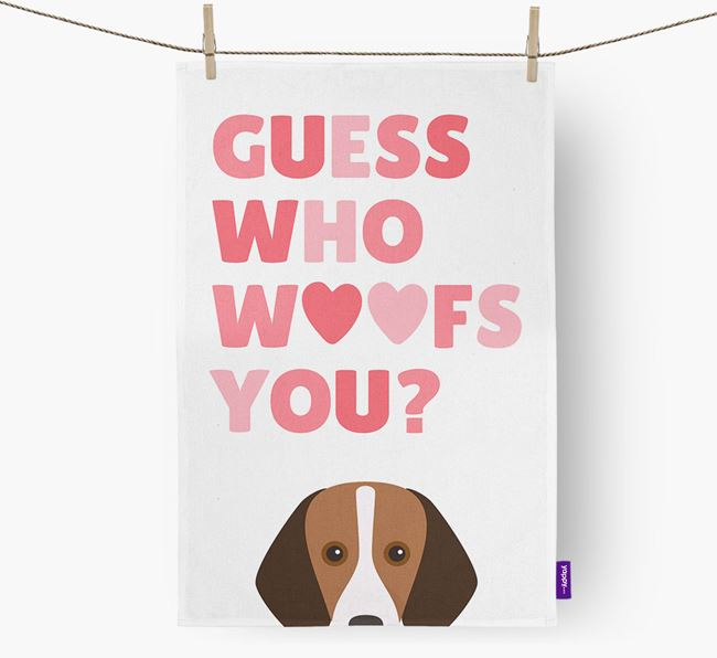 'Guess Who Woofs You?' Tea Towel with Foxhound Icon