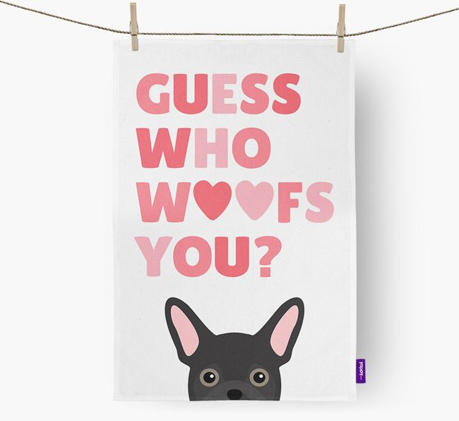'Guess Who Woofs You?' Dish Towel with Frug Icon