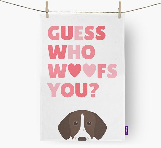 'Guess Who Woofs You?' Dish Towel with German Shorthaired Pointer Icon