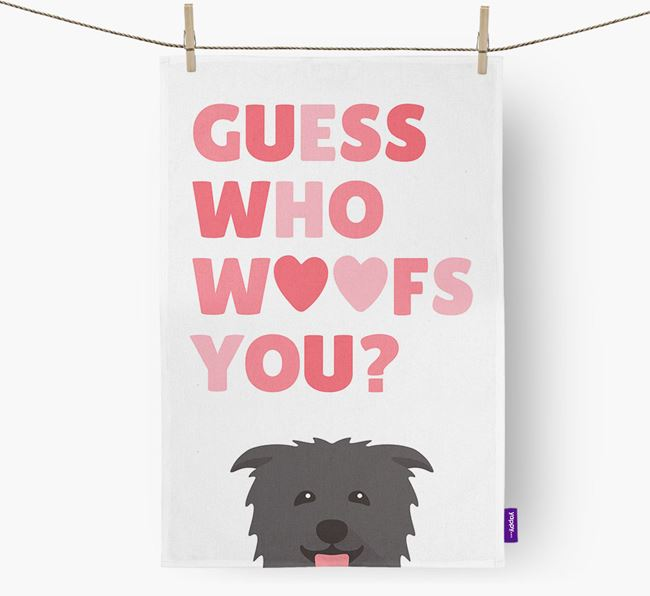 'Guess Who Woofs You?' Dish Towel with Glen Of Imaal Terrier Icon