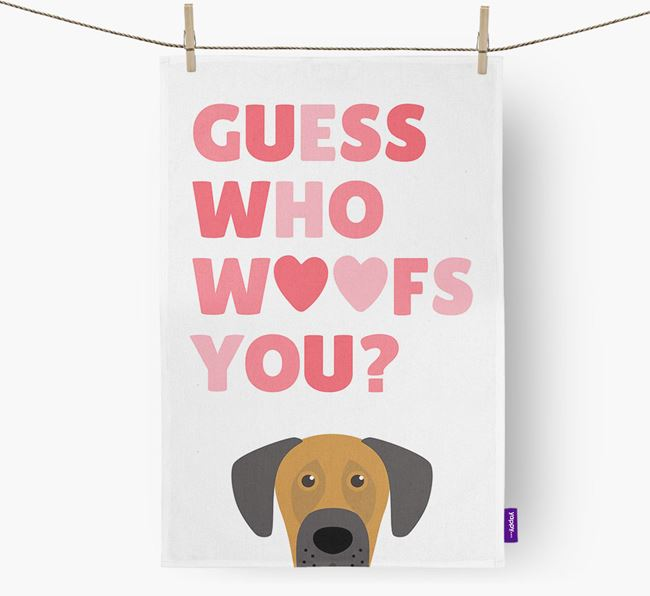 'Guess Who Woofs You?' Dish Towel with Dog Icon