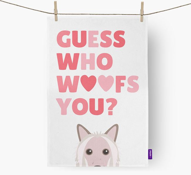 'Guess Who Woofs You?' Tea Towel with Hairless Chinese Crested Icon