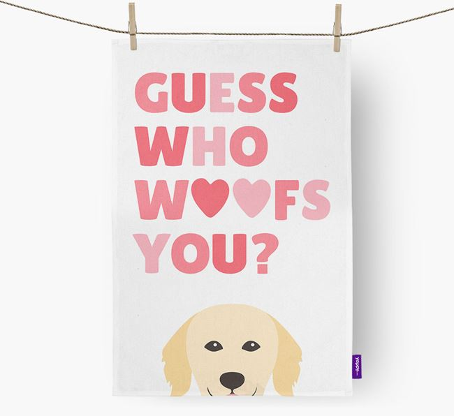 'Guess Who Woofs You?' Dish Towel with Hovawart Icon