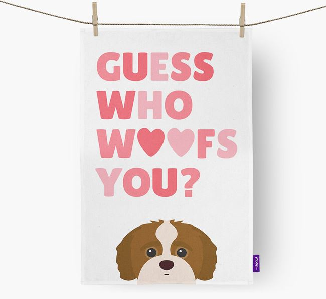 'Guess Who Woofs You?' Dish Towel with Jack-A-Poo Icon