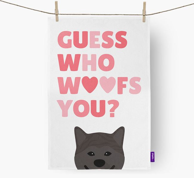 'Guess Who Woofs You?' Tea Towel with Japanese Akita Icon