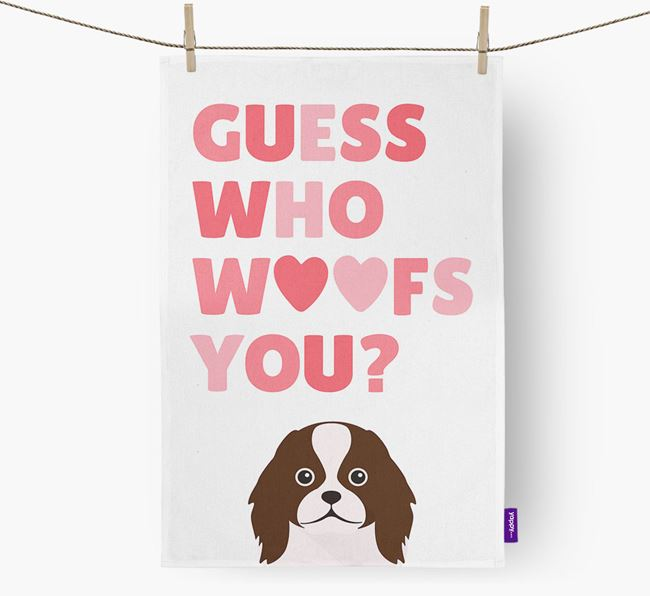 'Guess Who Woofs You?' Dish Towel with Japanese Chin Icon