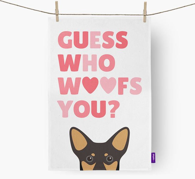 'Guess Who Woofs You?' Dish Towel with Lancashire Heeler Icon