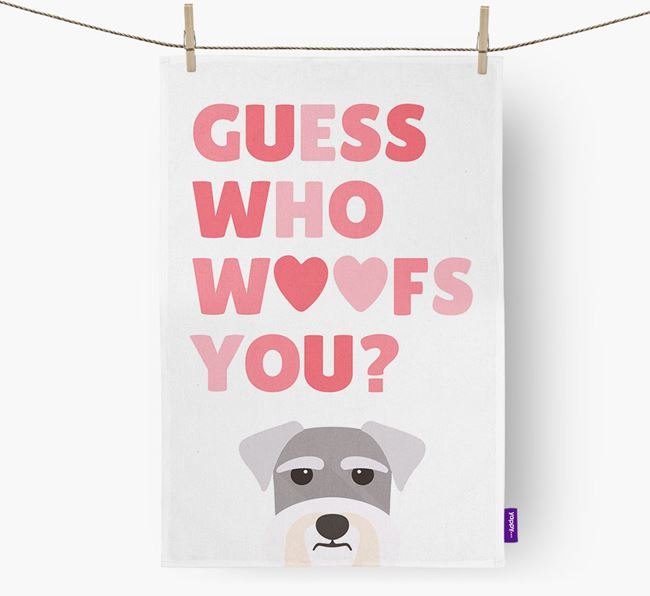 'Guess Who Woofs You?' Tea Towel with Miniature Schnauzer Icon