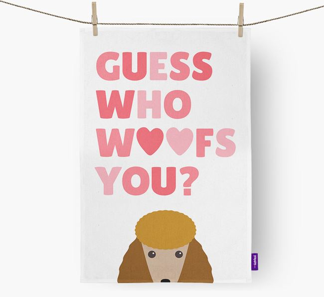 'Guess Who Woofs You?' Tea Towel with Poodle Icon