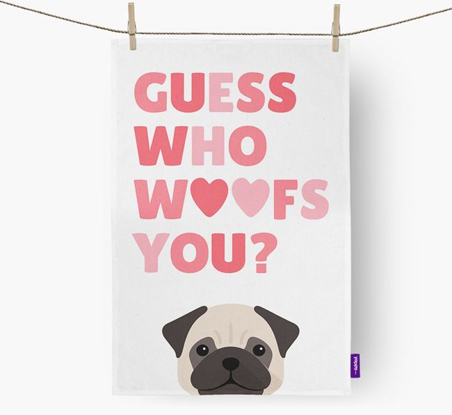 'Guess Who Woofs You?' Tea Towel with Dog Icon