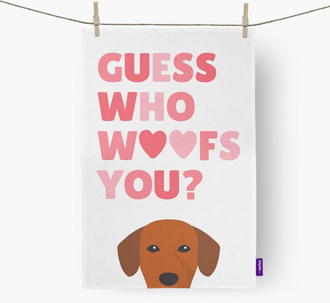 'Guess Who Woofs You?' Tea Towel with Springador Icon