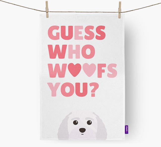 'Guess Who Woofs You?' Dish Towel with Terri-Poo Icon