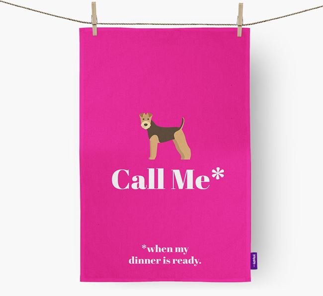 'Call Me*' Tea Towel with Airedale Terrier Icon