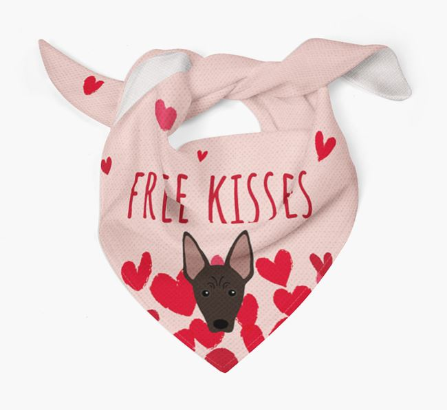 'Free Kisses' Bandana with American Hairless Terrier Icon