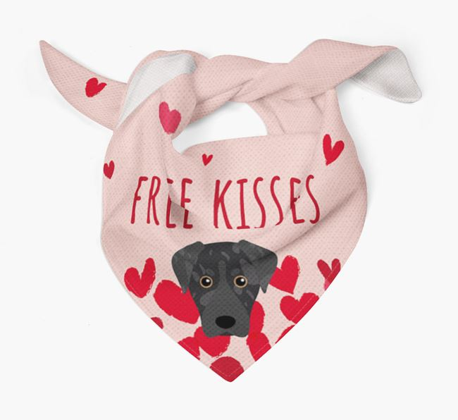 'Free Kisses' Bandana with American Leopard Hound Icon