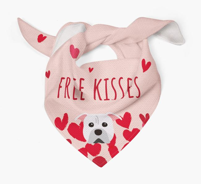 'Free Kisses' Bandana with American Pit Bull Terrier Icon