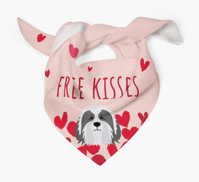 'Free Kisses' Bandana with Bearded Collie Icon