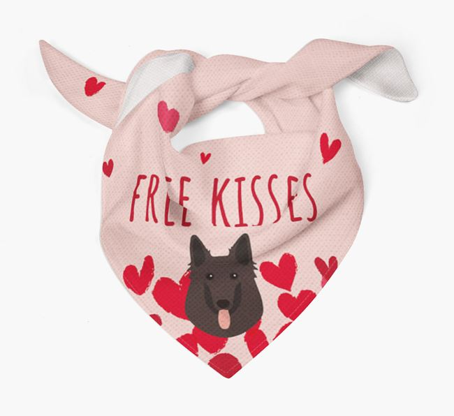 'Free Kisses' Bandana with Belgian Groenendael Icon