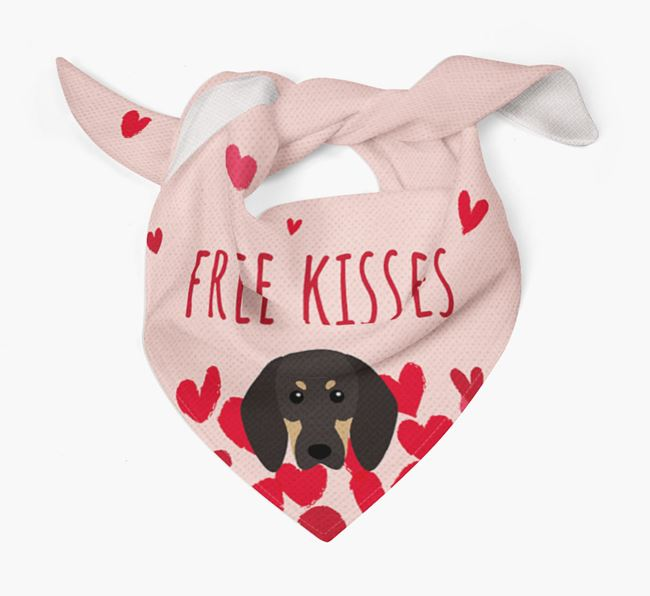 'Free Kisses' Bandana with Black and Tan Coonhound Icon