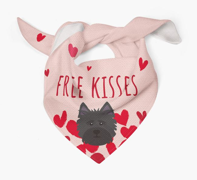 'Free Kisses' Bandana with Cairn Terrier Icon