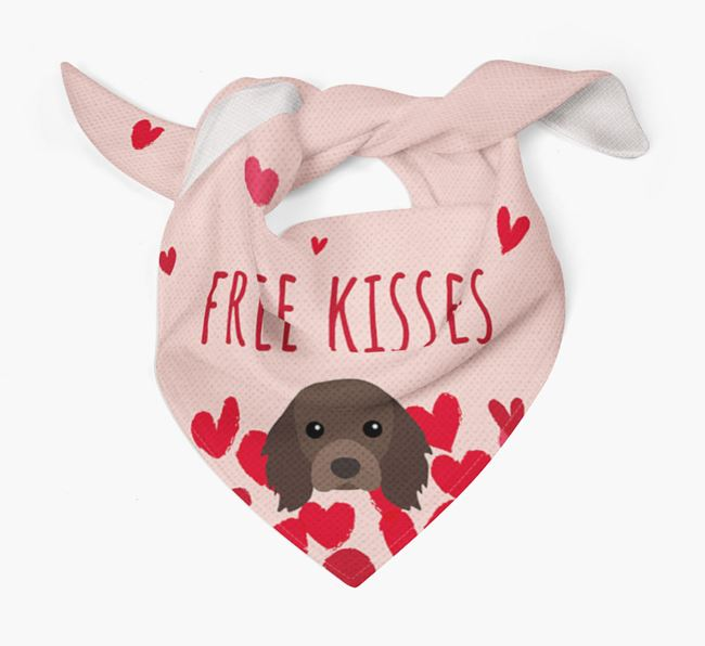 'Free Kisses' Bandana with Cavalier King Charles Spaniel Icon