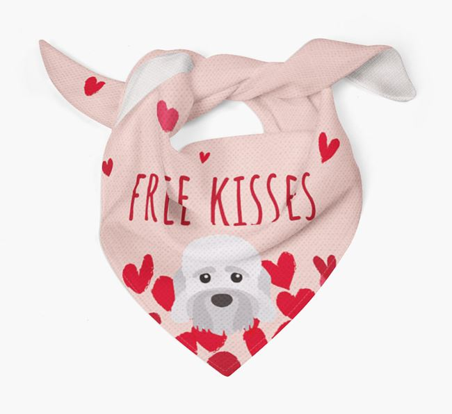 'Free Kisses' Bandana with Dandie Dinmont Terrier Icon