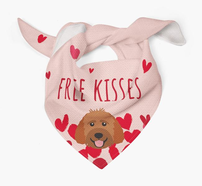 'Free Kisses' Bandana with Goldendoodle Icon