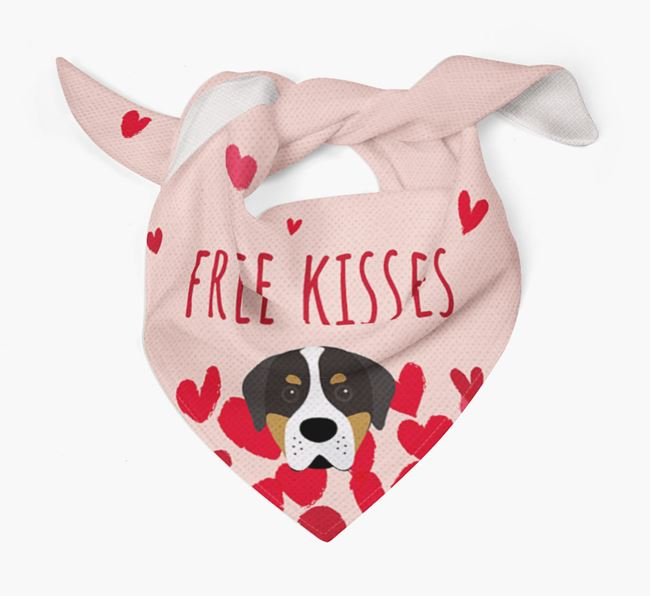 'Free Kisses' Bandana with Greater Swiss Mountain Dog Icon