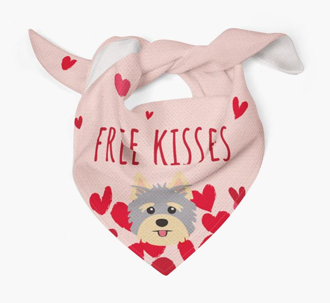 'Free Kisses' Bandana with Yorkshire Terrier Icon