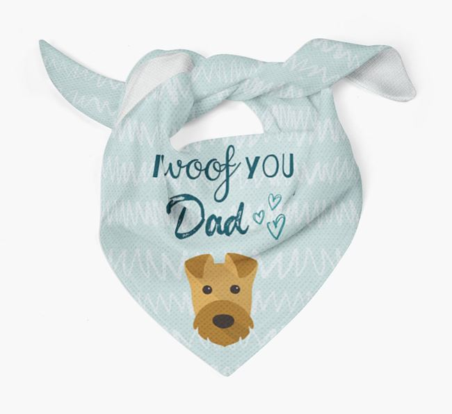 'I Woof You Dad' Bandana with Airedale Terrier Icon