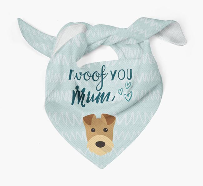 'I Woof You Mum' Bandana with Airedale Terrier Icon