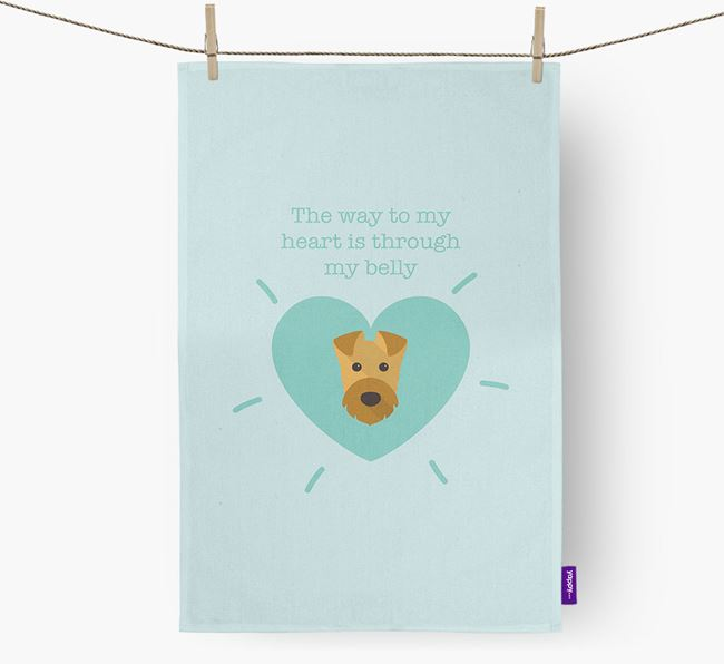'The way to my heart is through my belly' Tea Towel with Airedale Terrier Icon