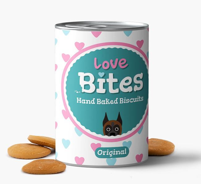 'Love Bites' Hand Baked Biscuits for your Boxer