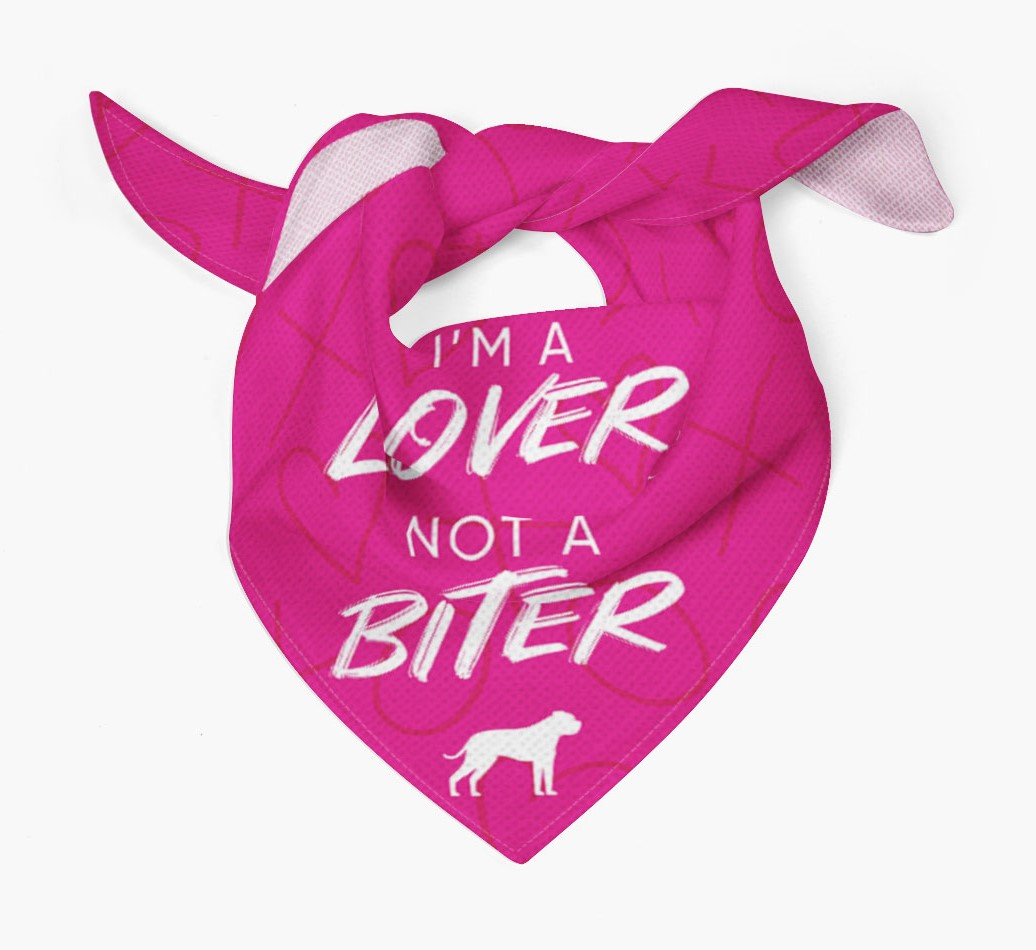 'I'm a Lover not a Biter' Bandana with American Bulldog Silhouette Tied