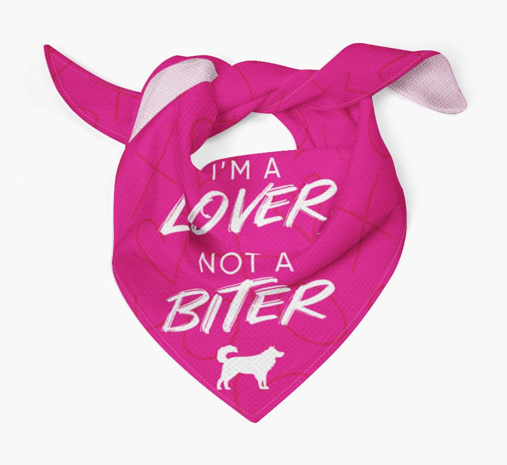 'I'm a Lover not a Biter' Bandana with Australian Shepherd Silhouette Tied