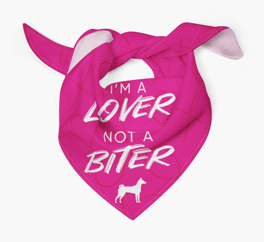 'I'm a Lover not a Biter' Bandana with Basenji Silhouette Tied