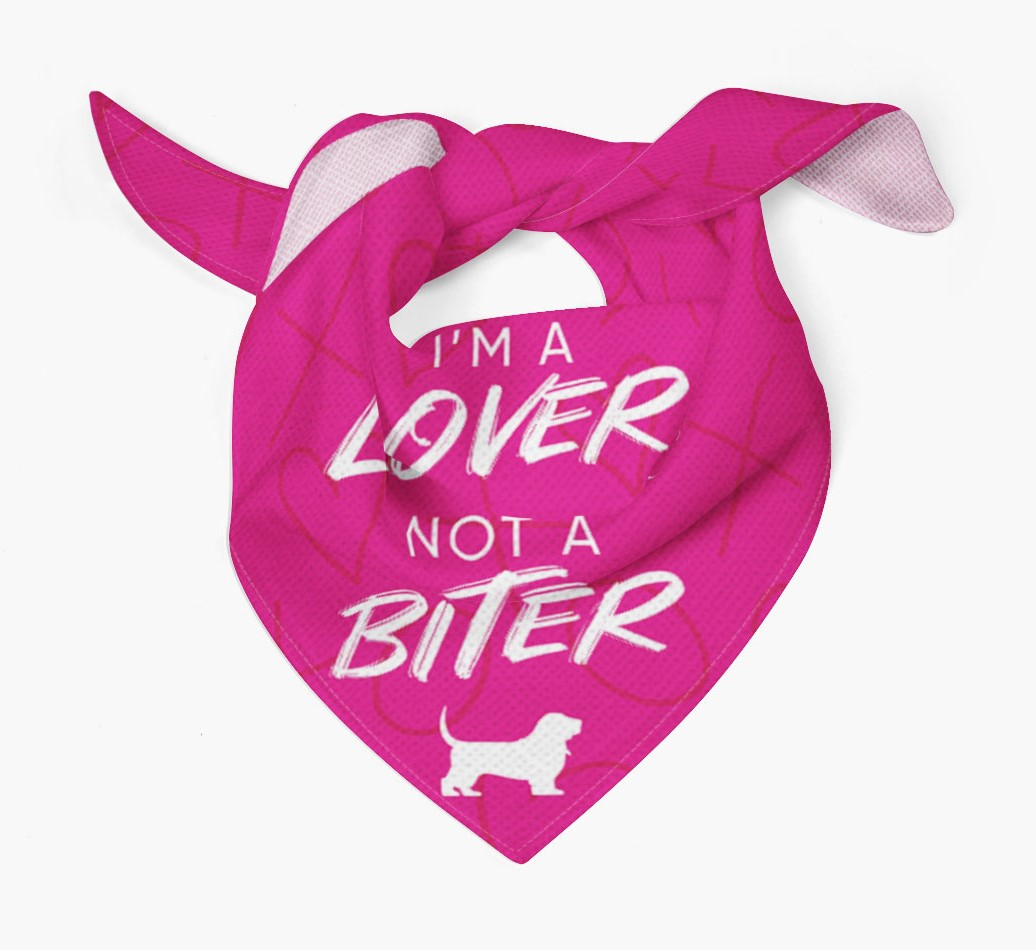 'I'm a Lover not a Biter' Bandana with Basset Hound Silhouette Tied