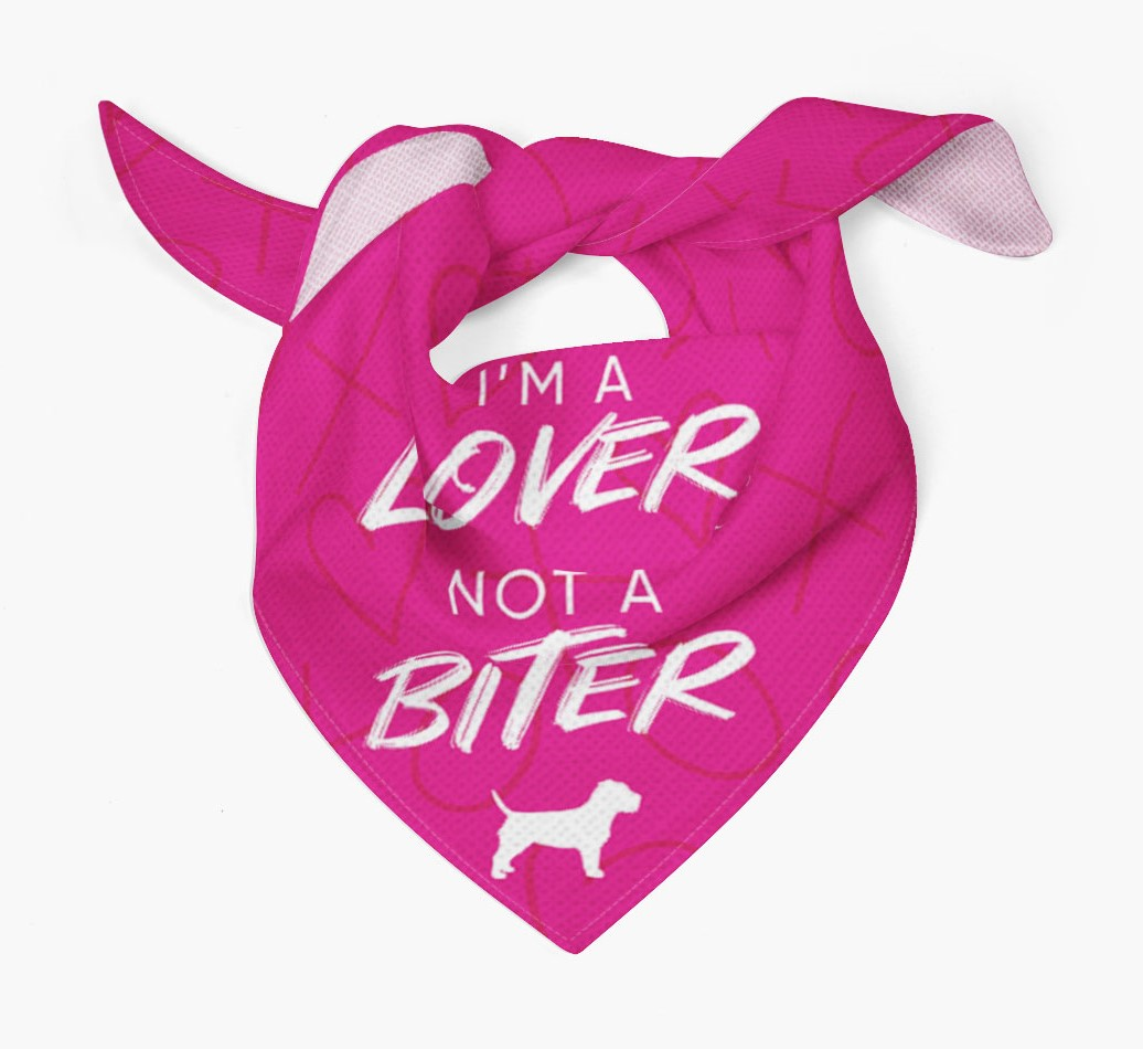 'I'm a Lover not a Biter' Bandana with Border Terrier Silhouette Tied