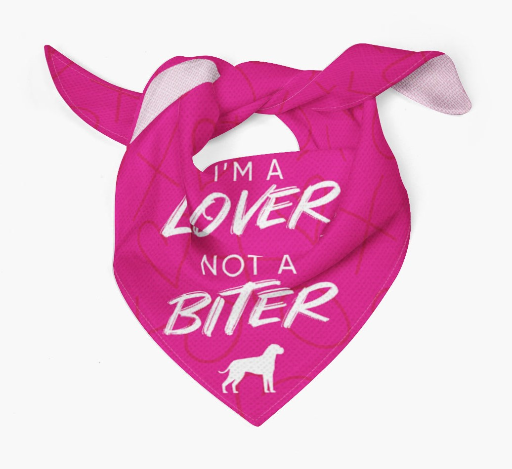 'I'm a Lover not a Biter' Bandana with Boxer Silhouette Tied