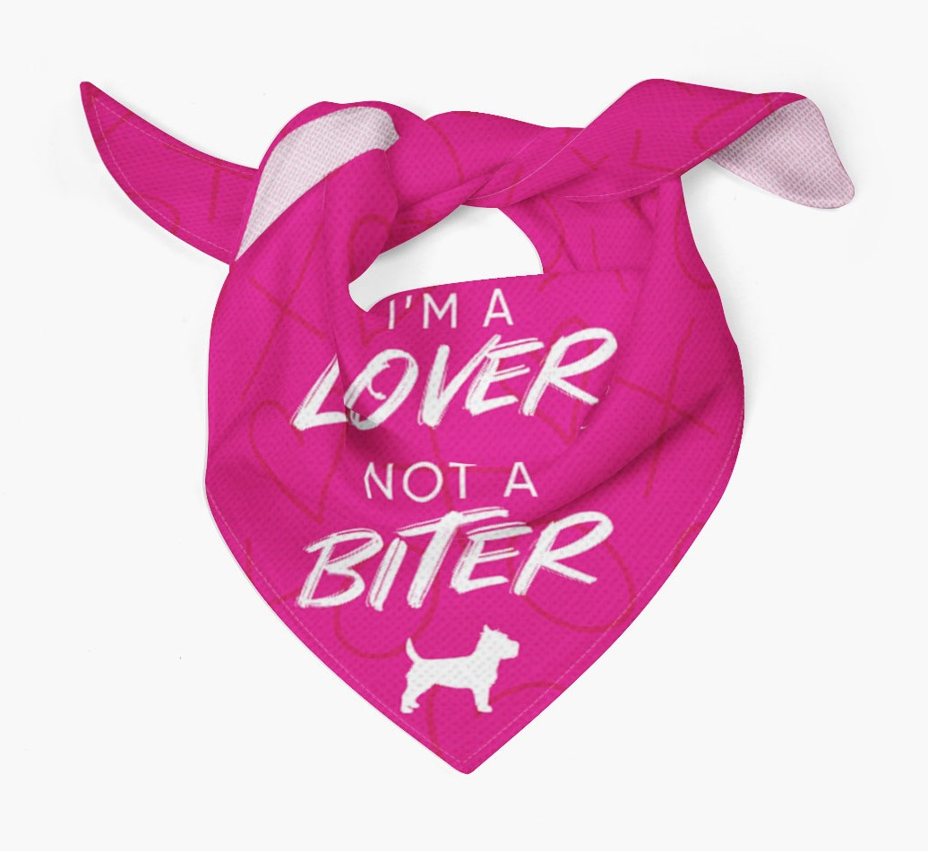 'I'm a Lover not a Biter' Bandana with Cairn Terrier Silhouette Tied