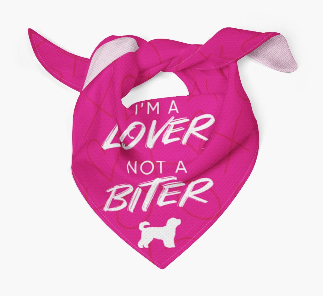 'I'm a Lover not a Biter' Bandana with Cavapoochon Silhouette Tied