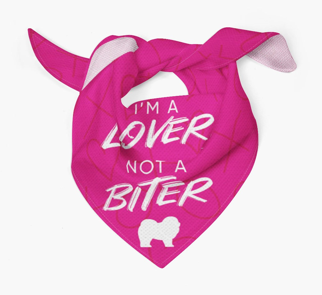 'I'm a Lover not a Biter' Bandana with Chow Chow Silhouette Tied