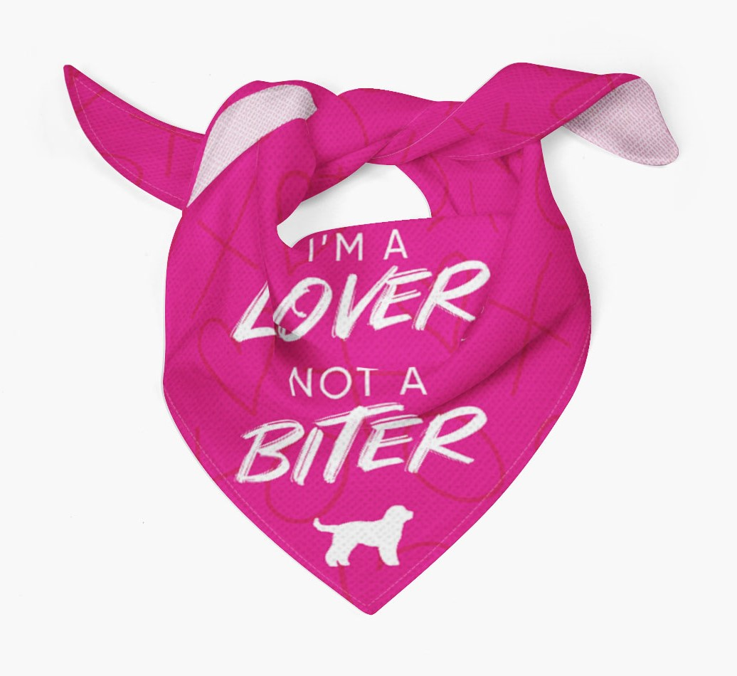 'I'm a Lover not a Biter' Bandana with Cockapoo Silhouette Tied