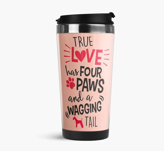 'True Love' Travel Flask with Airedale Terrier Silhouette