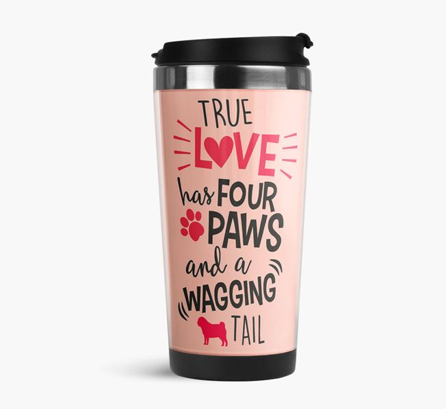 'True Love' Travel Flask with Pug Silhouette
