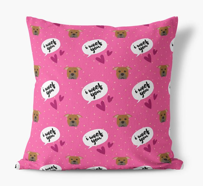 'I Woof You!' Pattern Canvas Pillow with American Pit Bull Terrier Icons
