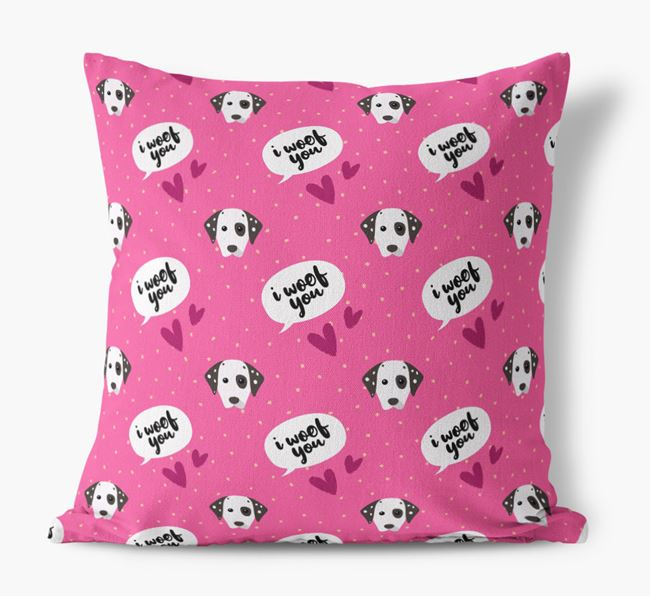 'I Woof You!' Pattern Canvas Pillow with Dog Icons